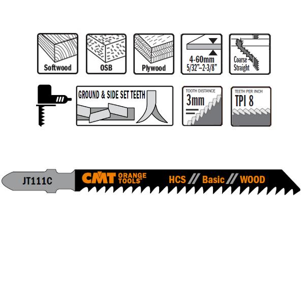 5 JIG SAW BLADES HCS 100x3x8TPI (WOOD/STRAIGHT/COARSE)