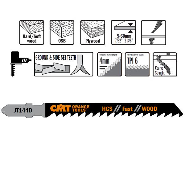 5 JIG SAW BLADES HCS 100x4x6TPI (WOOD/STRAIGHT/COARSE)