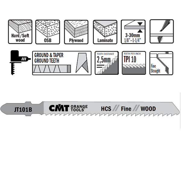25 JIG SAW BLADES HCS 100×2.5x10TPI (WOOD/STRAIGHT/FINE)