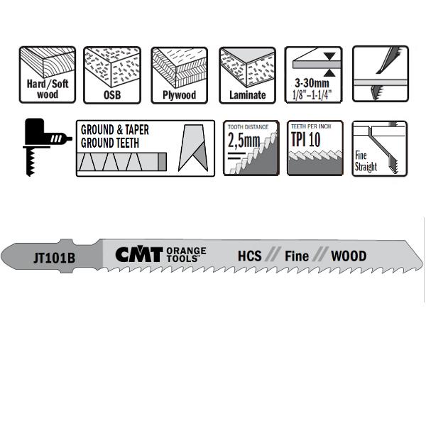 5 JIG SAW BLADES HCS 100×2.5x10TPI (WOOD/STRAIGHT/FINE)
