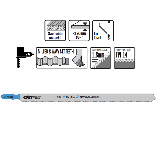 3 JIG SAW BLADES HSS 185×1,8x14TPI (METAL-SANDWICH PANELS/STRAIGHT/FINE)