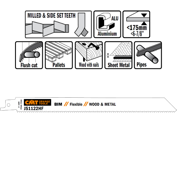 20 SABRE SAW BLADES FOR WOOD/METALS (BIM) 225×2,5x10TPI