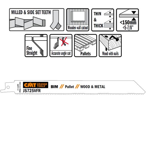 20 SABRE SAW BLADES FOR WOOD/METALS (BIM) 200×2,1-3,2×8-12TPI