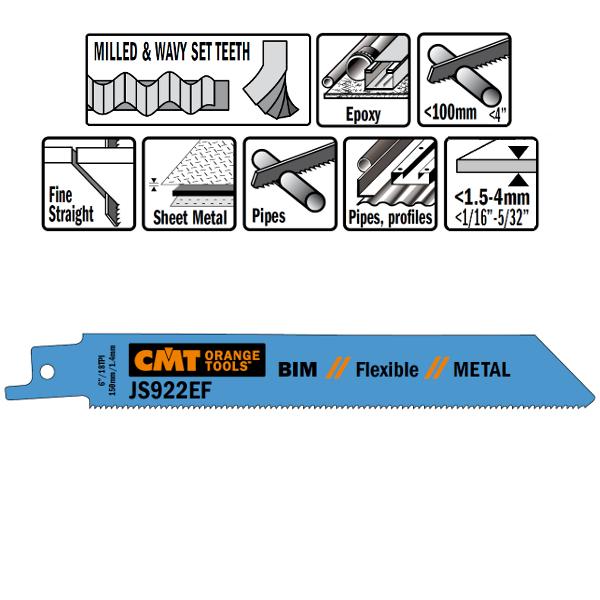 20 SABRE SAW BLADES FOR METALS (BIM) 150×1,4x18TPI